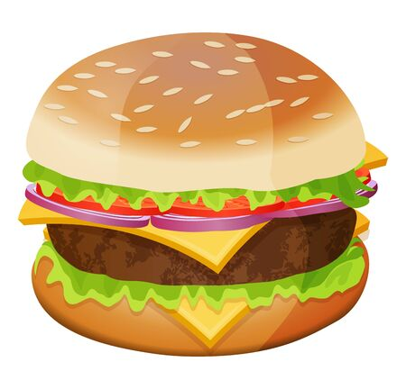 Cute cartoon hamburger isolated on a white background. Vector illustration.