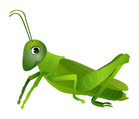 Cute cartoon grasshopper isolated on a white background. Vector illustration. Vectores