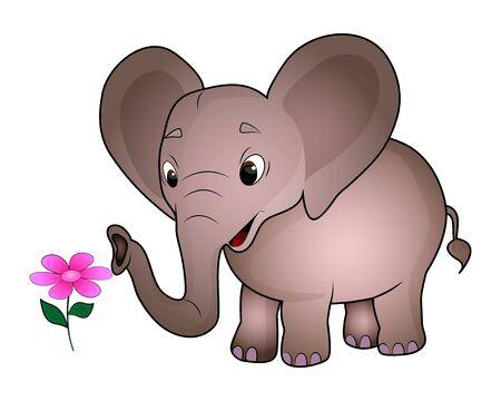 Cute cartoon elephant isolated on a white background. Illustration