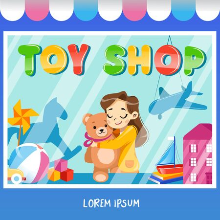 Facade toy store with a signboard, girl with teddybear, awning and playthings in shopwindow.