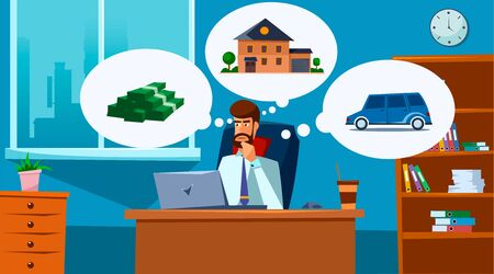 Business concept. Businessmen at his workplace is thinking about real estate, money, car.