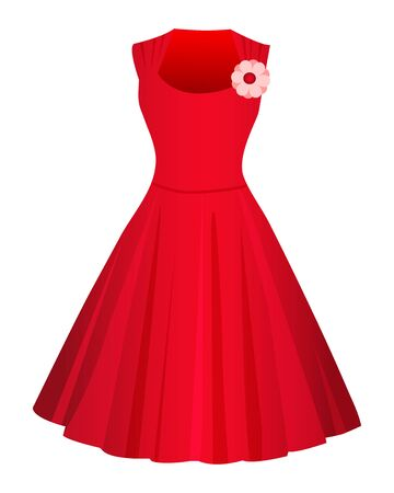 Cute Red dress isolated on white background.