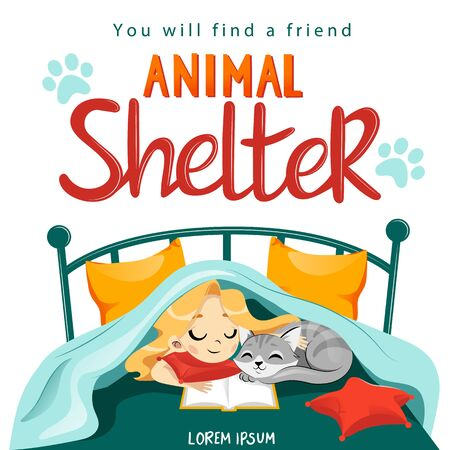 Animal Shelter design poster with child, cat and decorations.