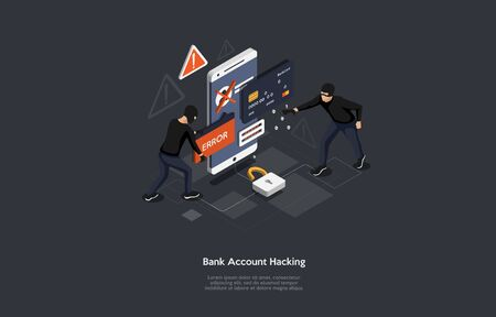 Isometric bank account hacker attack and personal data security concept. Computer security technology. Illustration