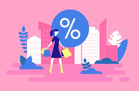 Woman with bags after shopping sale. Vector illustration. 向量圖像