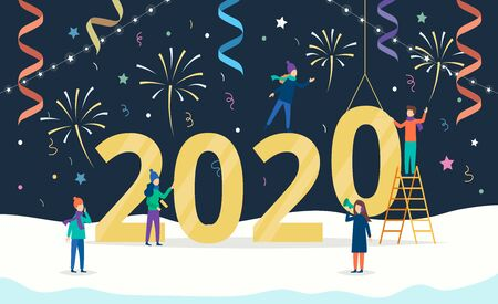 Happy New Year 2020 greeting card of young people team are working together, making decorations and party fireworks.