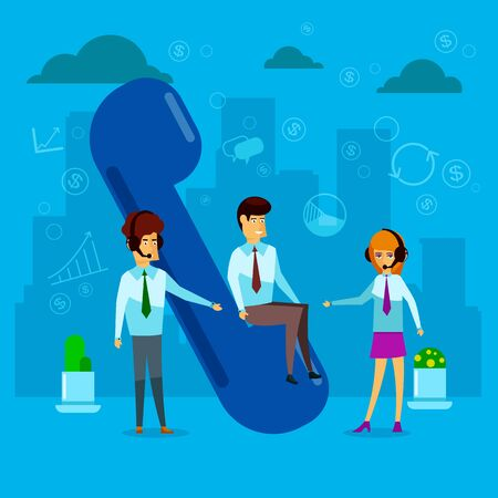 Customer service, online global technical support, customer and operator, a large handset with call center operators. Illustration