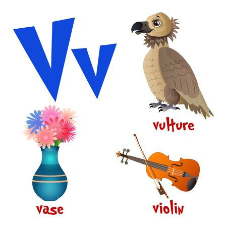 Vector cute kids cartoon alphabet. Letter V with vulture, vase and violin.