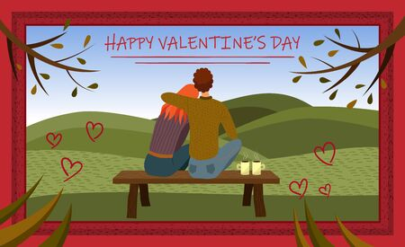Valentines Day concept. Couple in love is sitting in the park on the bench with romantic view.