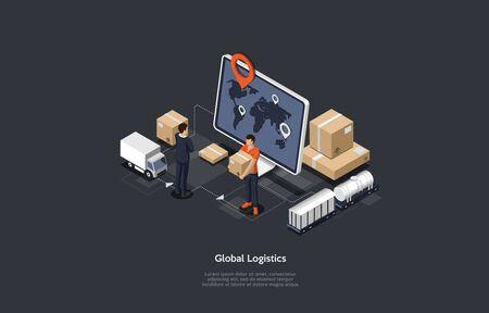 Iconos de ilustración de red de logística global en línea isométrica. Conjunto de camiones de carga, transporte ferroviario. Ilustración de vector