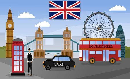 London touristic poster with famous landmarks and symbols. Flat style.