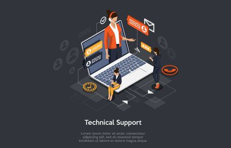 Isometric Online customer technical support concept. Vector illustration.