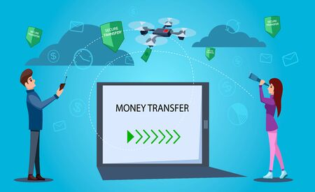 Money transfer concept. The drone carries the money from man to woman.