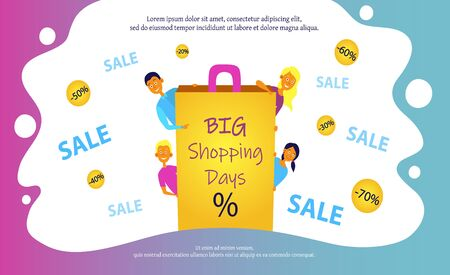 Big Sale, shopping days concept with four young joyful people. Design for website banner or poster sale.