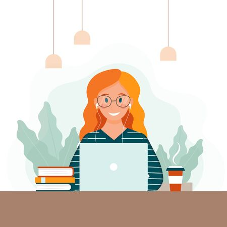 Woman is sitting at the table and typing on laptop. Vector cartoon business lady with notebook.