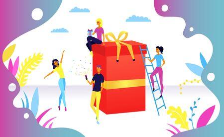 Concept de célébration surprise d'anniversaire. Peuples près de Surprise Box, Convient pour la page de destination, l'interface utilisateur, le Web, la carte d'introduction de l'application, l'éditorial, le dépliant et la bannière. Style plat. Illustration vectorielle.