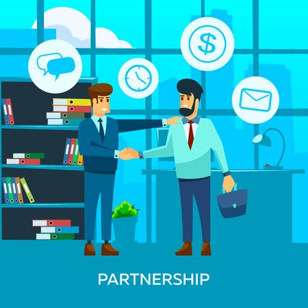 Two businessman office workers characters making business deal and handshake. Ilustracja