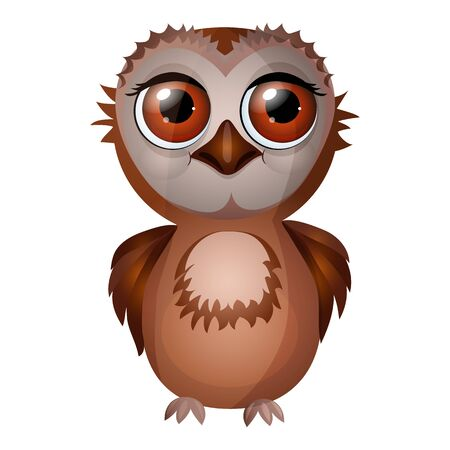 Cute cartoon owl isolated on a white background. Flat style.