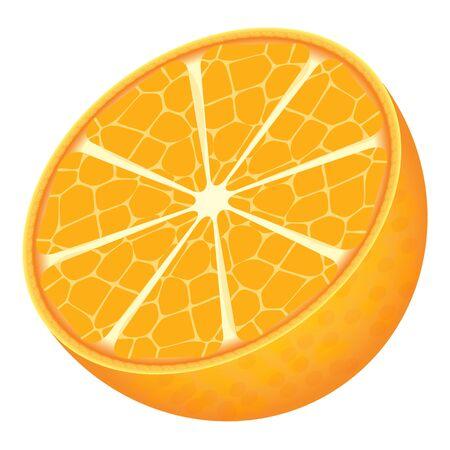 Cute cartoon orange isolated on a white background. Flat style.