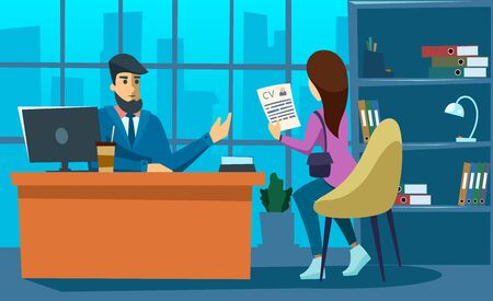 Handsome businessman boss and female candidate with cv resume in the office. Recruitment, job interview concept. Flat style.
