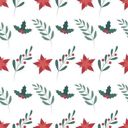 Seamless pattern with poinsettia design. Flat style. Standard-Bild - 134793740