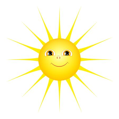 Cute cartoon sun isolated on a white background. Flat style. Archivio Fotografico - 134793749