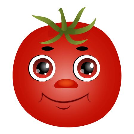 Cute cartoon tomato isolated on a white background. Flat style.  イラスト・ベクター素材