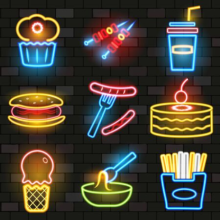 Set of fast food neon icons. Flat style.