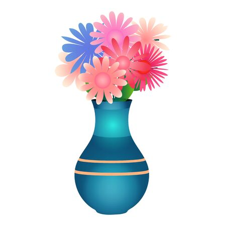 Cute cartoon vase with flowers Isolated on the white background. Vector illustration.