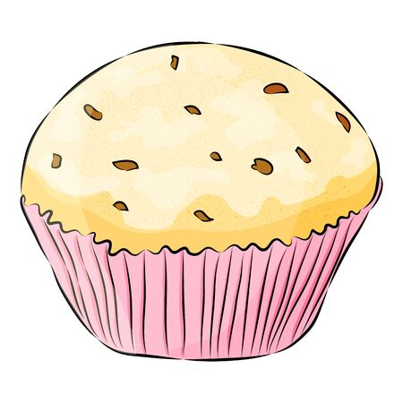 Cute cartoon cupcake Isolated on the white background. Flat style.