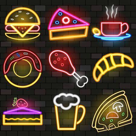 Set of fast food neon icons. Vector illustration. Stock Illustratie