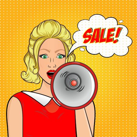 Pop art concept. Sexy surprised woman with loudspeaker and bubble Sale.