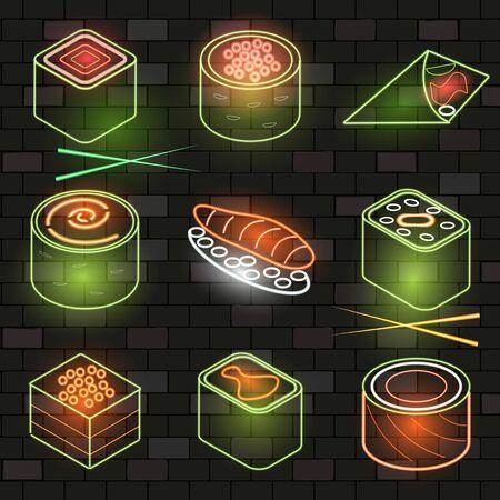 Neon sushi cute set on the dark brick wall background. Flat style. Vector illustration. Foto de archivo - 134558539