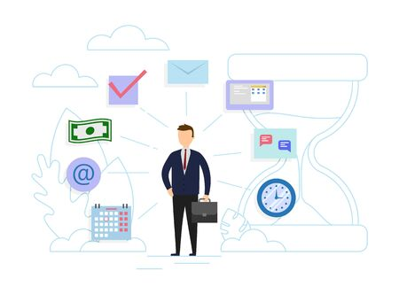 Time management, control concept. Businessman near huge sandclock with business icons. Flat style. Vector illustration.