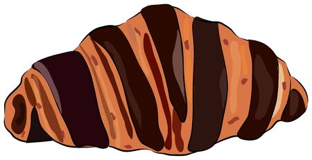 Croissant with chocolate isolated on the white background. Traditional french baked goods. Bake product for lunch, breakfast.