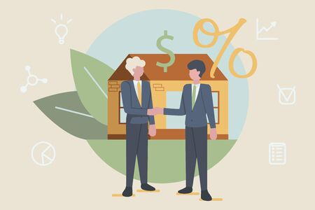 Buying new house concept. Two businessman are shaking hands, big deal agreement. Flat style. Vector illustration. Ilustrace