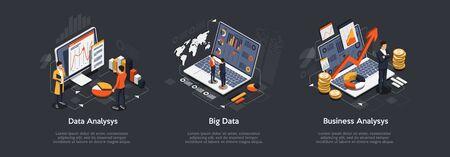 Isometric set of Data analysis, Big Data, Business analysis. Vector illustration. Иллюстрация