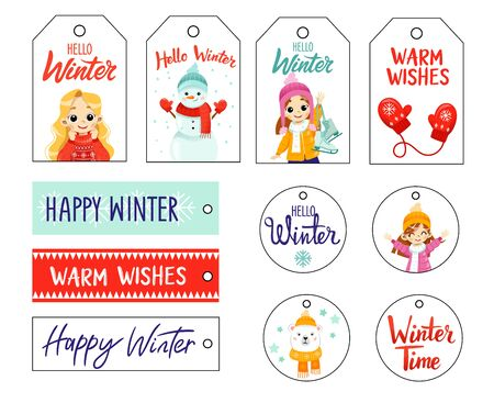 Set of Christmas gift tags with kids, winter paraphernalia and warm wishes. Holiday gift labels for New Year.