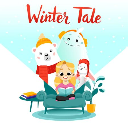 Girl is reading the winter tale beside polar bear, rabbit and yeti. Place for text. Flat style. Vector illustration.