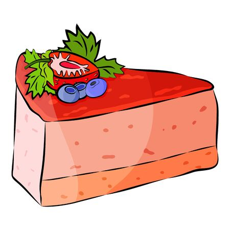 Cake with Strawberry, blueberry and mint isolated on the white background. Flat style. Vector illustration. Ilustração