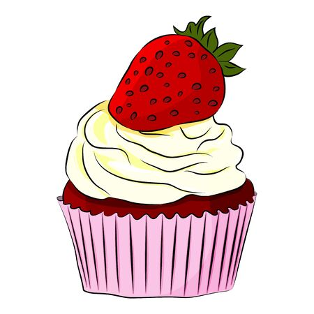 Strawberry cartoon Cupcake Isolated on the white background. Design for decor, cards, print, web, poster, banner, t-shirt. Flat style. Vector illustration. 向量圖像