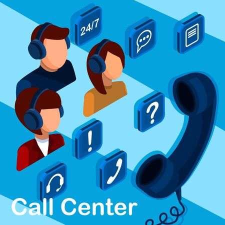 Call center and customer service isometric 3d concept, customer service and mobile support landing page, operators with headphones wyth icons.
