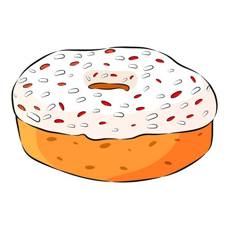 Donut with pink glaze and sprinkles isolated on the white background. Flat style. Vector illustration.
