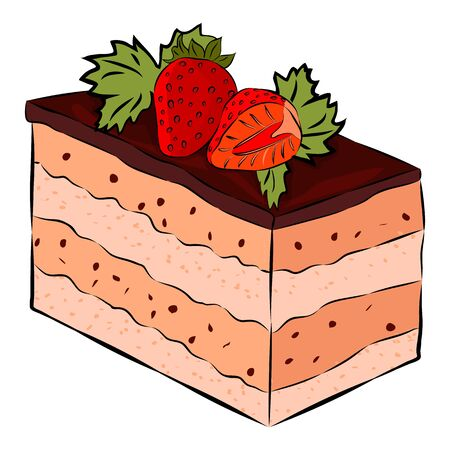 Chokolate Cake with Strawberry, and mint isolated on the white background. Flat style. Vector illustration.