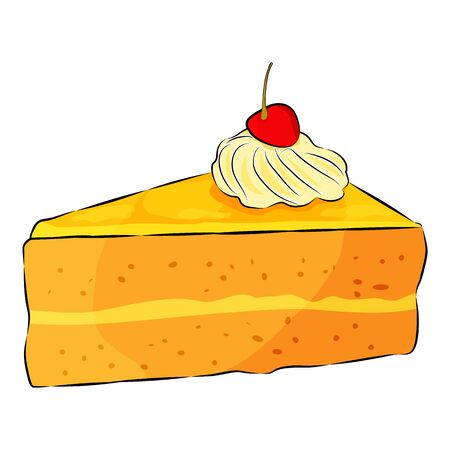 A piece of cheesecake pie with cherry on the top and cream isolated on the white background. Flat style. Vector illustration. Çizim