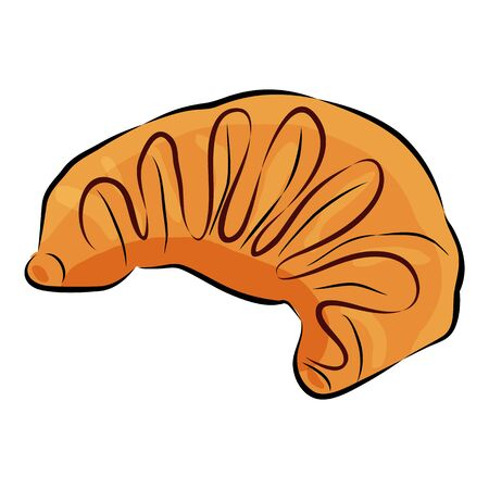 Croissant with chocolate isolated on the white background. Traditional french baked goods. Stock Illustratie