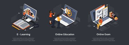 Isometric set of education concept. E-Learning, Online education, online exam.