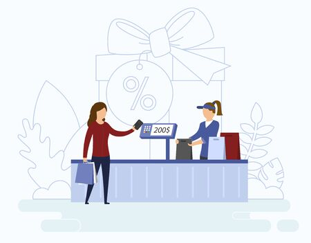 Young beautiful woman is paying purchase by card while store clerk is preparing shopping bags.