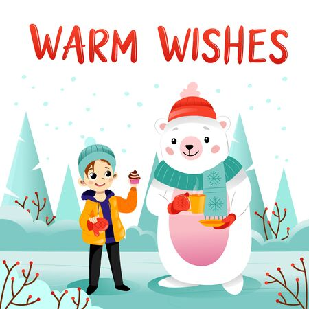 Cartoon Girl, Polar bear with hot tea and cupcake in the village, warm wishes text, Christmas season, winter holidays. Design for wrapping, fabric, print, postcard. Flat style. Vector illustration.