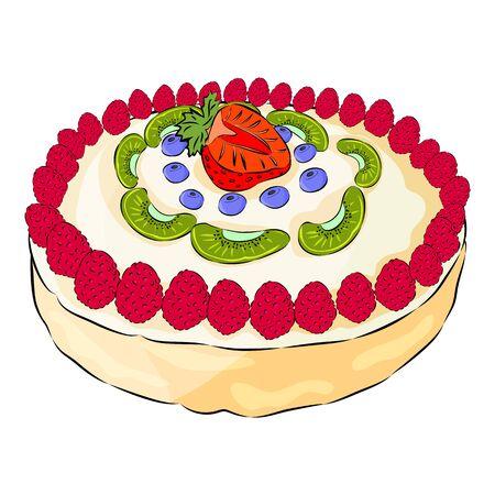 Meringue ake with raspberry, kiwi, strawberry, blueberry isolated on the white background. Flat style. Vector illustration Ilustração